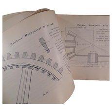 Vintage Book - Old Self Help Mechanical Drawing Book by N. Hawkins ca 1902