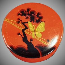 Vintage Typewriter Ribbon Tin - Old Codo Tin with Butterfly and Tree Graphics