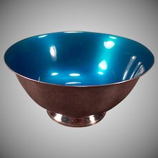 Vintage Reed and Barton Silver Plate - #102 Blue Enamel Candy Bowl