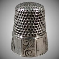 Vintage Sterling Silver Thimble - Alternating Scroll Panels - Waite Thresher