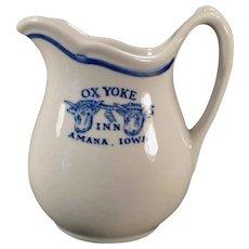 Vintage Restaurant China - Old Amana Iowa Ox Yoke Inn Advertising - Cream Pitcher