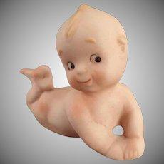 Vintage Porcelain Figure - Old Kewpie-Like Baby Lying on Stomach
