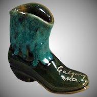 Vintage Pottery Souvenir - Old Pottery Boot - Calgary Canada Souvenir - Pretty Glaze