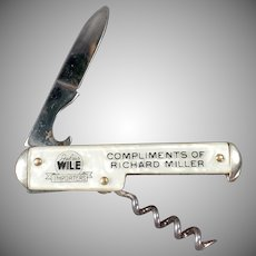Vintage Pen Knife and Corkscrew - Old Camco Knife with Julius Wile Advertising