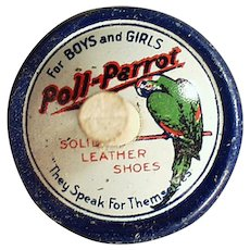 Vintage Tin Advertising Top - Old Poll-Parrot Shoes Spinning Top