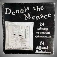 Vintage Dennis the Menace - Old Cocktail Ashtrays or Coasters with Comic Strip Clips