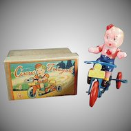 Vintage Occupied Japan Wind Up Toy Celluloid Boy on Tin Tricycle with Box
