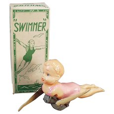 Vintage Celluloid Wind Up Toy - Old Swimmer with Original Box - Swimming Wind-up Boy