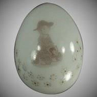 Vintage Blown Glass Egg - Old Milk Glass with Unusual Decal - Man in a Car