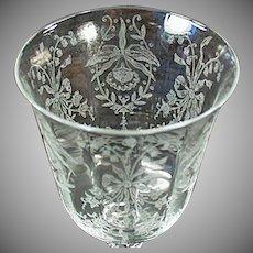 Vintage Heisey Glass Stemware - Old Orchid Etch Wine Goblet