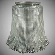 "Vintage Light Fixture Shade - Heavily Ribbed Old Shade with Large 3 ¼"" Neck"