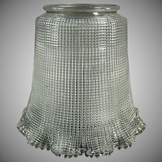 """Vintage Light Fixture Shade - Heavily Ribbed Old Shade with Large 3 ¼"""" Neck"""
