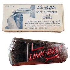 Vintage Kitchen Gadget - Old Vaughn Locktite Bottle Stopper and Opener with Link-Belt Advertising - Original Box