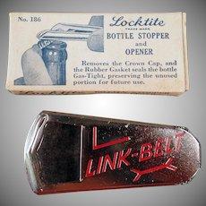 Vintage Vaughn Locktite Bottle Stopper Opener with Link-Belt Advertising - Original Box