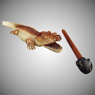 Vintage Celluloid Letteropener - German Celluloid Alligator with Black Boy Pencil