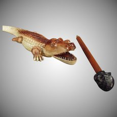 Vintage Celluloid Letteropener - German Celluloid Alligator with Black Boy Pencil