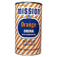 Vintage Tin Advertising Bank - Old Mission Orange Soda Can Bank