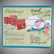 Vintage Dime Saver - Old Cardboard Bank with Childcraft Books Advertising
