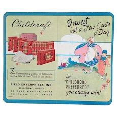 Vintage Dime Saver - Old Cardboard Bank with Childcraft Books Advertising