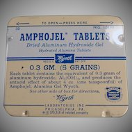 Vintage Amphojel Antacid Tablets Medicine Tin - Wyeth - Old Medical Tin