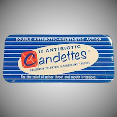 Vintage Medicine Tin - Candettes Antibotic Troches Tin - Old Medical Advertising