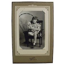 Vintage Photograph - Little Girl with Old Teddy Bear - Old Photo in Easel Frame