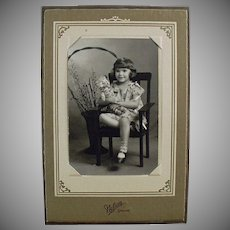 Vintage Photograph - Little Girl with Teddy Bear - Old Photo in Easel Frame
