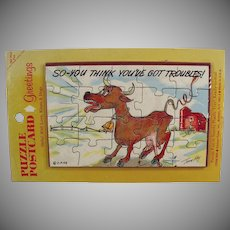 Vintage Postcard Puzzle - Humorous Old Postcard Mailer with Funny Cow