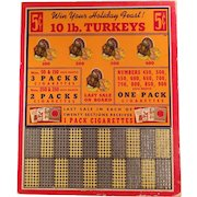 Unused Vintage Punch Board - Old Cigarette Advertising - Win a Turkey Game, Trade Stimulator