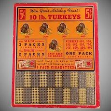 Unused Vintage Punch Board - Old Cigarette Advertising - Win a Turkey Game, Trade Stimulator