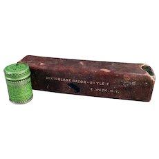 Vintage Razor Accessories - Old Weck's Razor Strop Dressing Tin and Razor Box