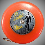 Vintage Tape Measure - Old Lady's Man Tape - Reddish Orange Color