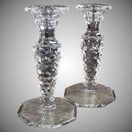Vintage Fostoria Glassware Old American Pattern Candlesticks - Pair