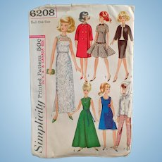 Vintage Simplicity Doll Clothes Pattern #6208 for Teen Model Dolls