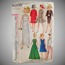 Vintage Doll Clothes Pattern - Old Simplicity Pattern #6208 - Doll Clothes for Teen Model Dolls