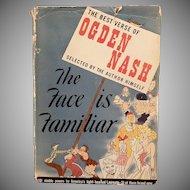 Vintage 1941 Hardbound Ogden Nash Book – The Face is Familiar