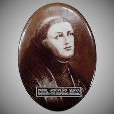Vintage Celluloid Mirror - Old California Mission Memorabilia - Padre Junipero Serra