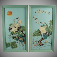 Vintage Wall Hangings - Oriental Flair - Colorful Birds in Original Turquoise Frames