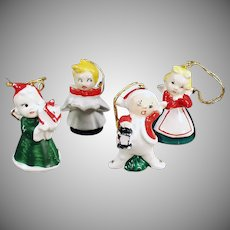 Vintage Ceramic Christmas Tree Ornaments - Set of 4 Miniature Elf/Pixie Figures