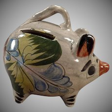 Vintage Mexican Pottery - Richly Colored Pottery Miniature Piggy Bank