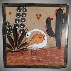 Vintage Mexican Pottery - Old Mexican Tile Trivet - White Bird Image - Muted Glaze