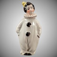 Vintage Perfume Bottle - Little Porcelain Clown / Pierrot Figurine in Black and White - Miniature Perfume
