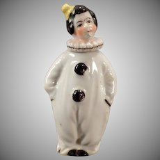 Vintage Perfume Bottle - Little Porcelain Clown / Pierrot Figurine in Black and White - Miniature Perfume