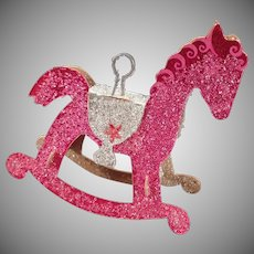 Vintage Christmas Ornament – Xmas Tree Ornament with Venetian Dew - Pink Rocking Horse