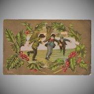 Vintage Christmas Postcard - Young Boys Ice Skating - Old Gold Enhanced Card