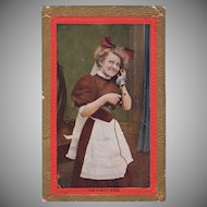 Vintage Postcard - Old Photograph Postcard with Maid on a Telephone Party Wire