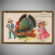 Vintage Postcard - Old Thanksgiving Postcard - Big Turkey and Young Children