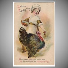 Vintage Postcard - Old Thanksgiving Postcard with Young Pilgrim Girl and Plump Turkey