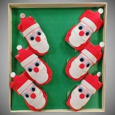 Vintage Christmas Bar Set - Old Santa Claus Coaster Set with Original Box