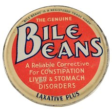 Vintage Medicine Tin - Biles Beans Laxative Twists - Old Medical Advertising